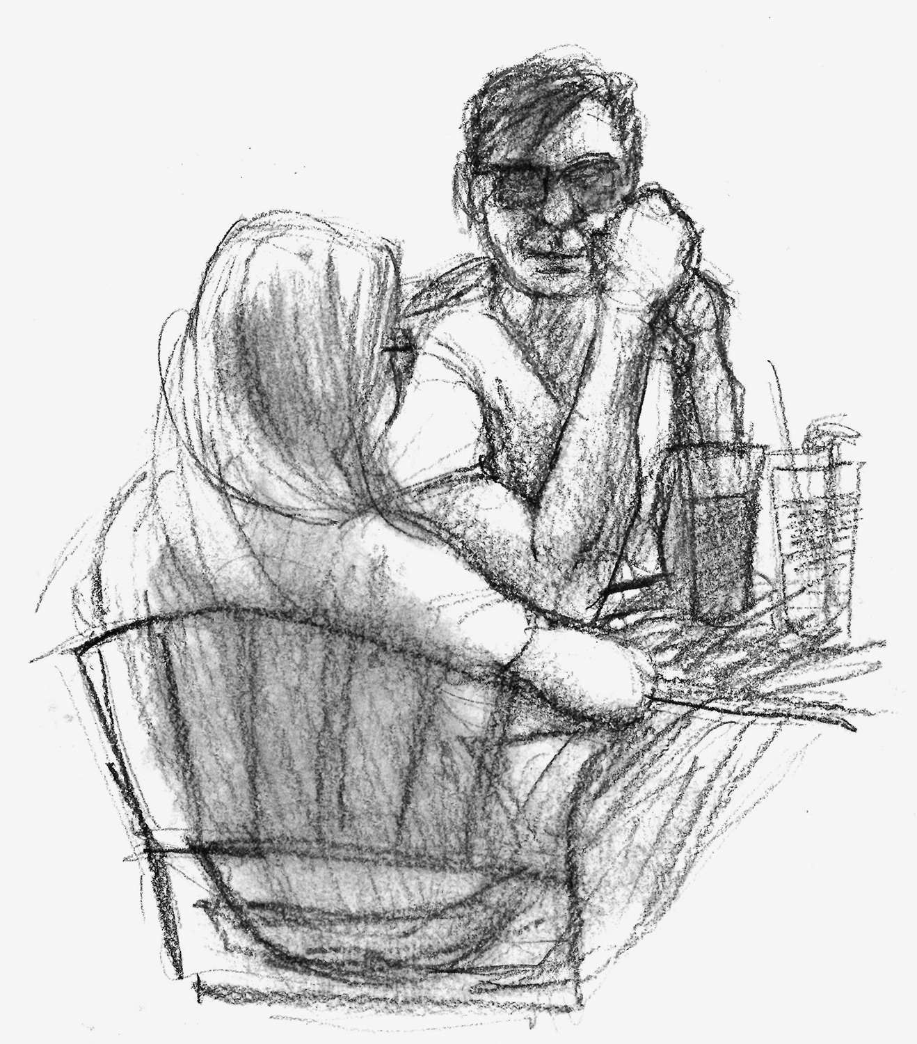 A couple at breakfast at Christo's, the diner near home. I think it was a breakfast date…the body language was interesting.