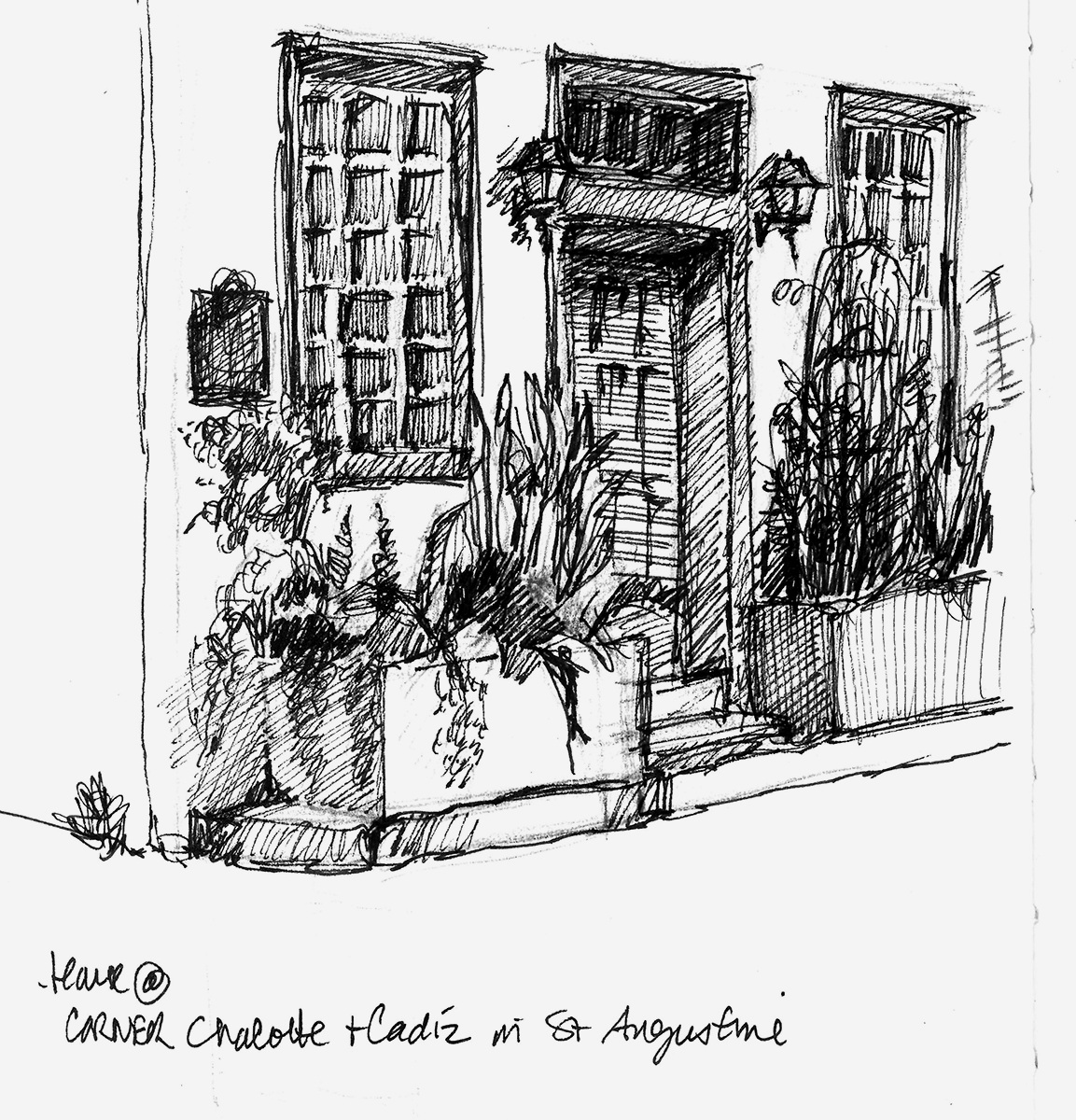 A sketch of the corner of Charlotte and Cadiz Streets while sitting on the steps of the St. Augustine Art Association building.