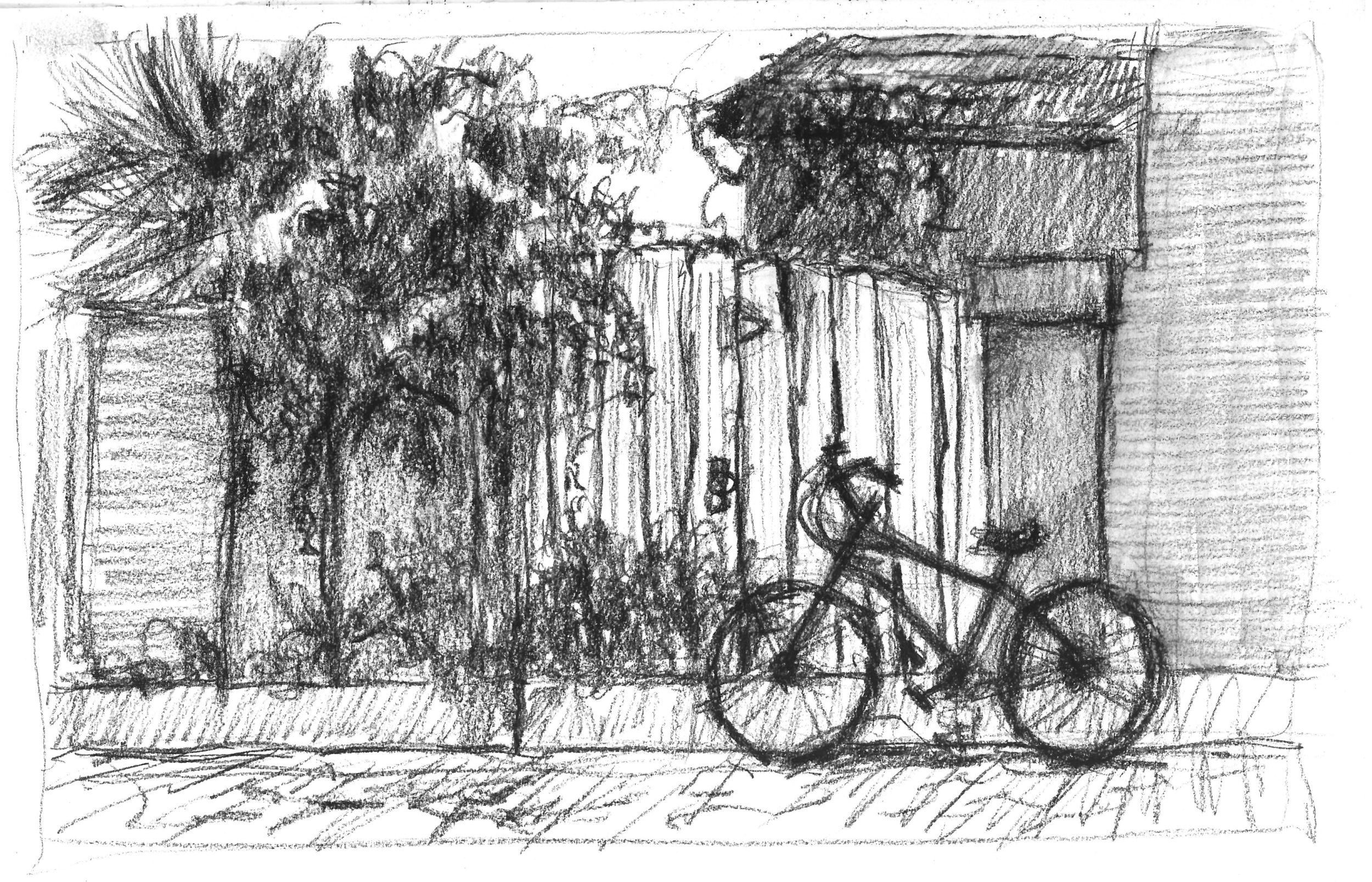 Joel's bike parking across the street from the Aviles Street Gallery in St. Augustine.