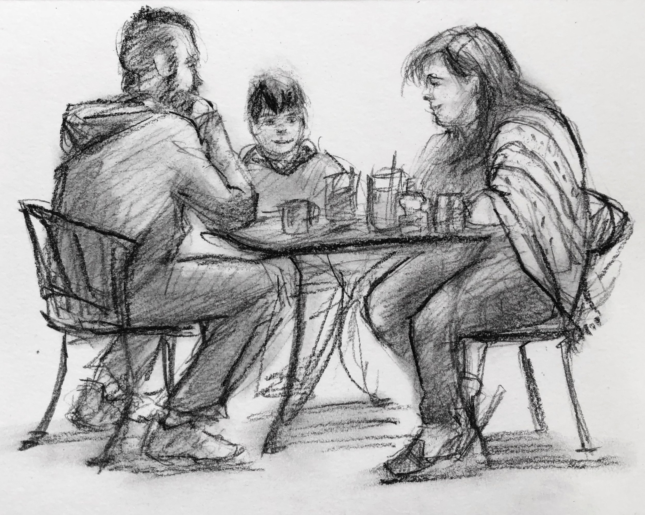 Yet another sketch of innocent diners at Christo's. This family was actually talking together instead of being on their phones.