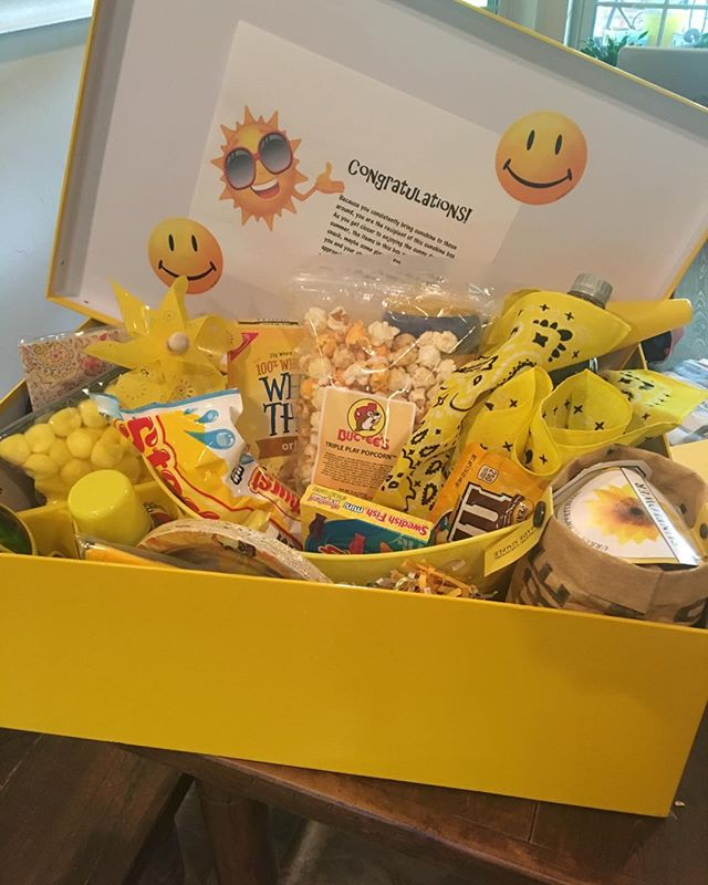 Do you know someone who needs a sunshine box? (especially during all this rain here in North Texas!) Grab a yellow box and fill it full of sunshine. It will bless someone's heart. This box went to a kindergarten teacher, and it was filled with snacks and silly string and sunglasses and inflatable beach balls and flip flops...all the things! Leave a place for their favorite Sonic drink to add at the last minute. Deliver it anonymously and be a blessing to others! #carelovegive  #blessedtobeablessing