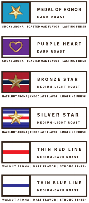 Choose from six Old Glory Coffee blends!
