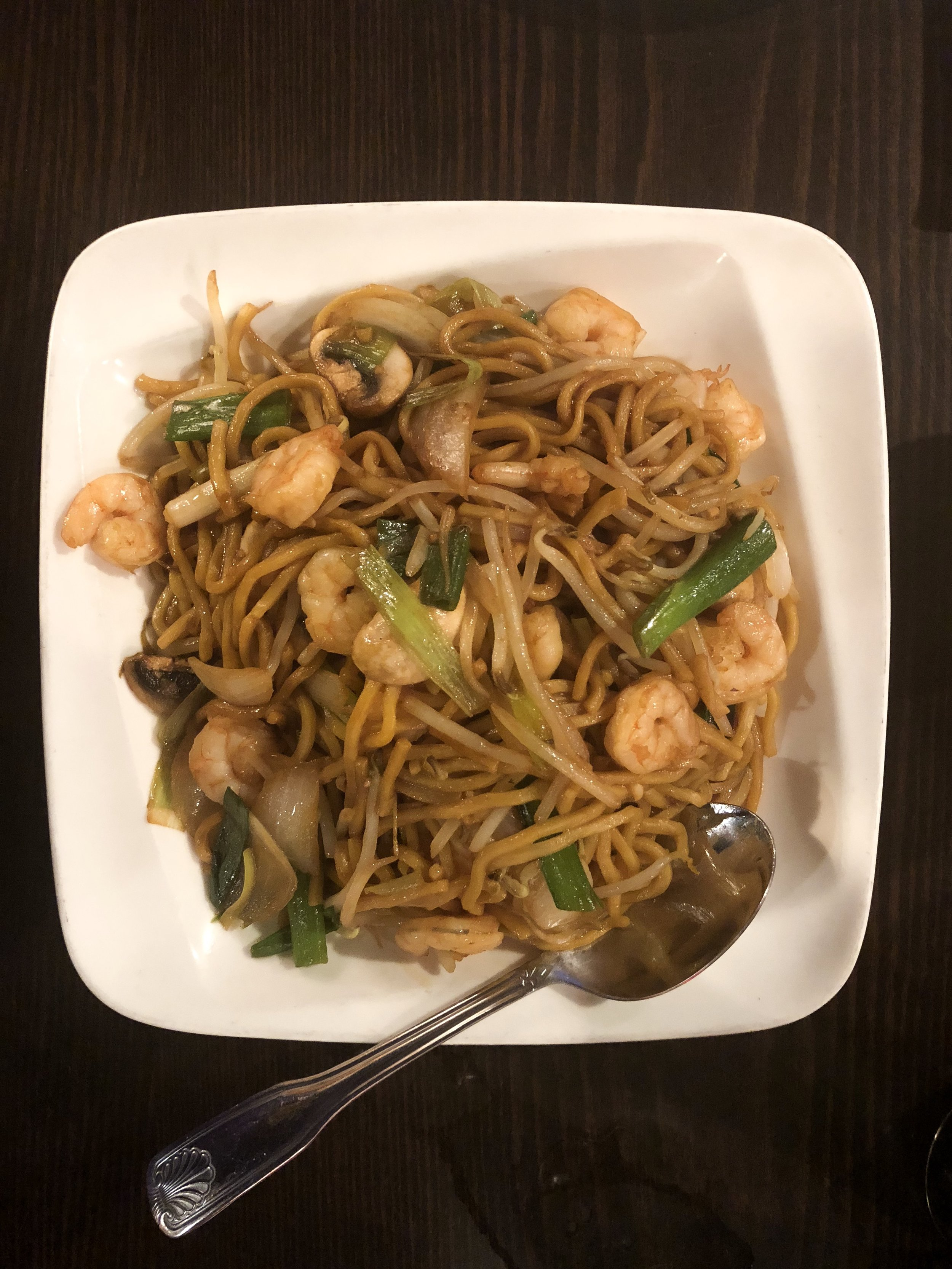 Wok and Roll's shrimp lo mein. Yum!