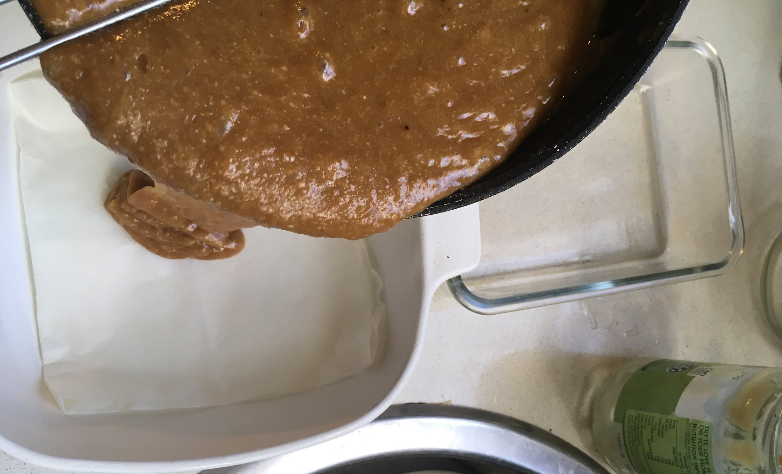 - Pour the batter into a greased and lined baking dish (roughly 17x17cm). The brownies will stick it you don't line the dish with baking paper at least at the bottom of the dish.