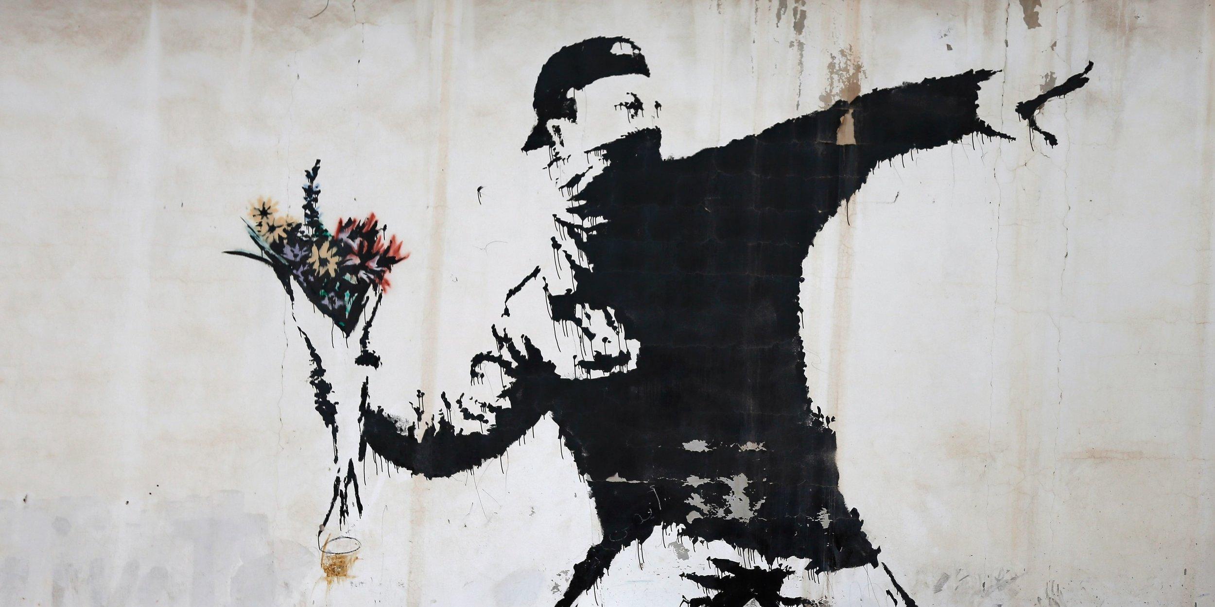 """Rage, Flower Thrower"" by Banksy (2003)"
