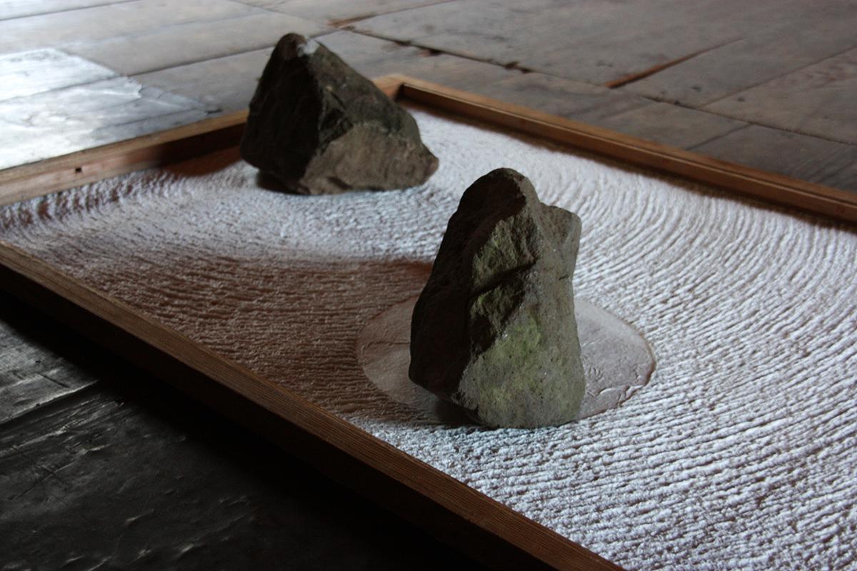 landscape, recollected  , 2019 detail  handmade paper (kozo), stone, re-purposed sliding door  Echizen Washi Union, Echizen, Japan