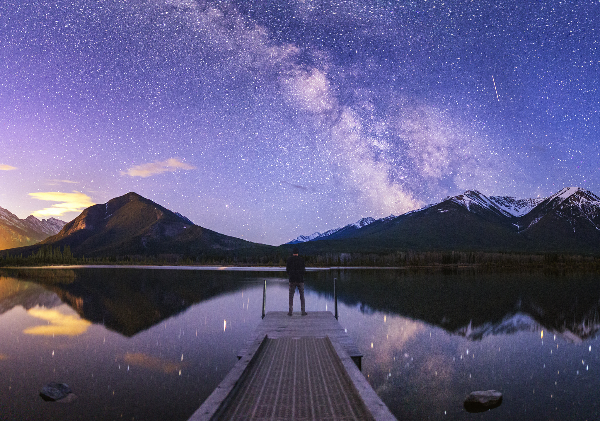 A panorama shot at Vermilion Lakes in Banff National Park