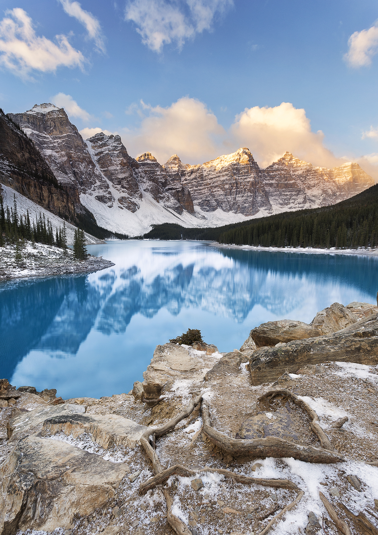 The final image from several hours of shooting at Moraine Lake as well as several hours editing. You can enquire about getting a copy of this print  here.