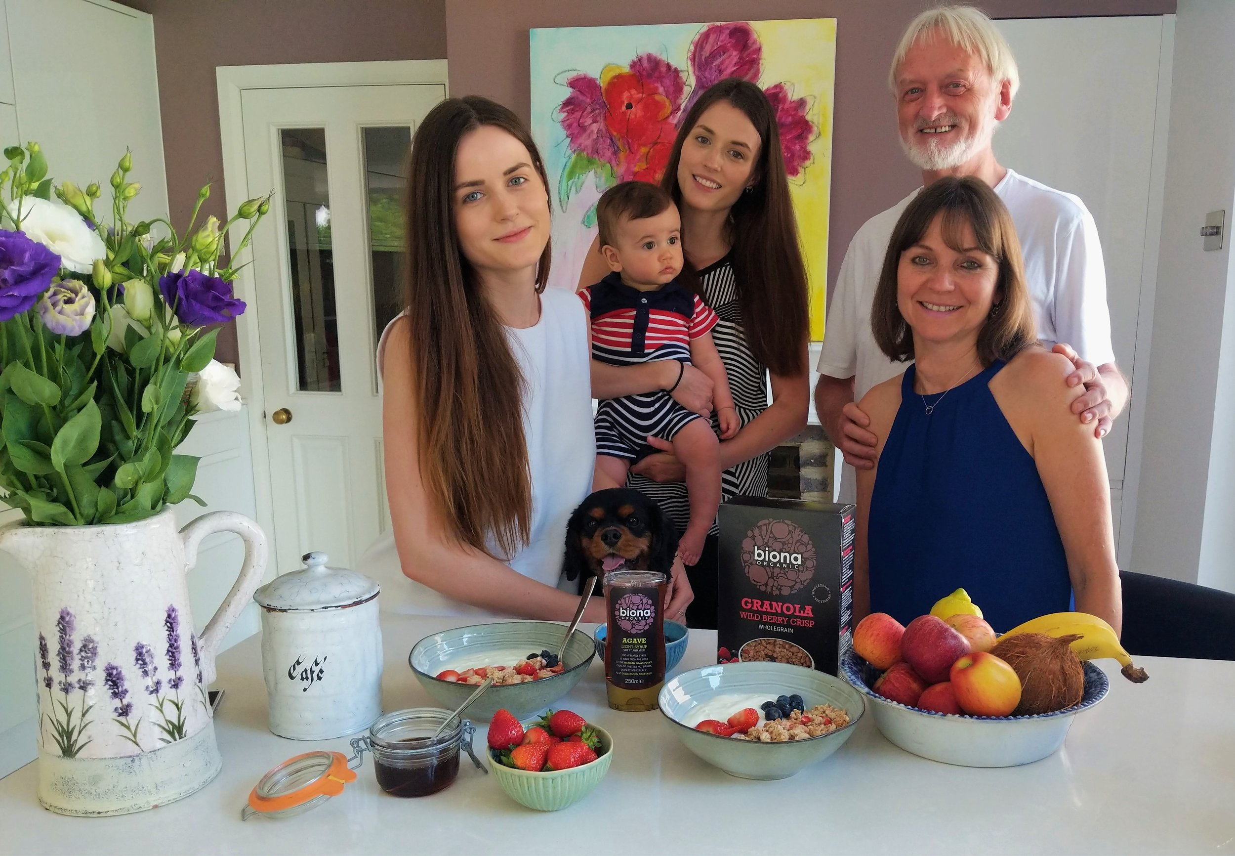 The Windmill Organic family: Elisa, baby Theo, Amy, Noel and Donata