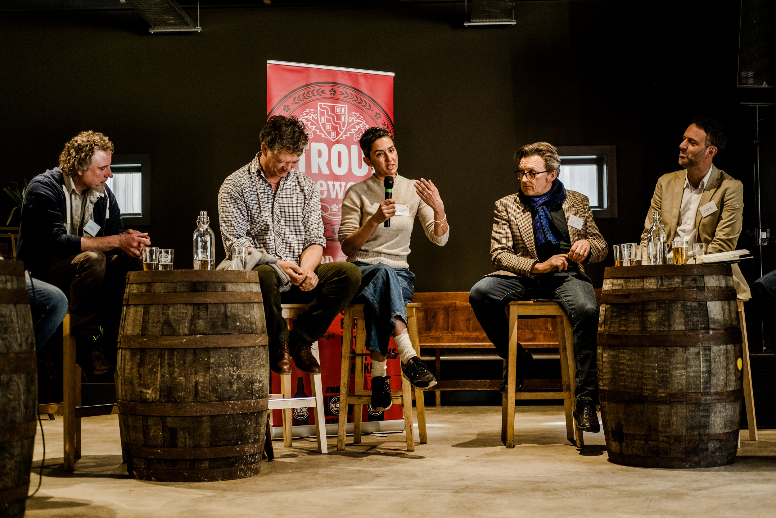 Stroud Brewery launch panel (Feb 2019) from Left to Right: Greg Pilley: Stroud Brewery, Guy Singh-Watson: Riverford Organic, Geetie Singh-Watson: Duke of Cambridge organic pub,  Neil Palmer: Vintage Roots, Lee Holdstock: Soil Association