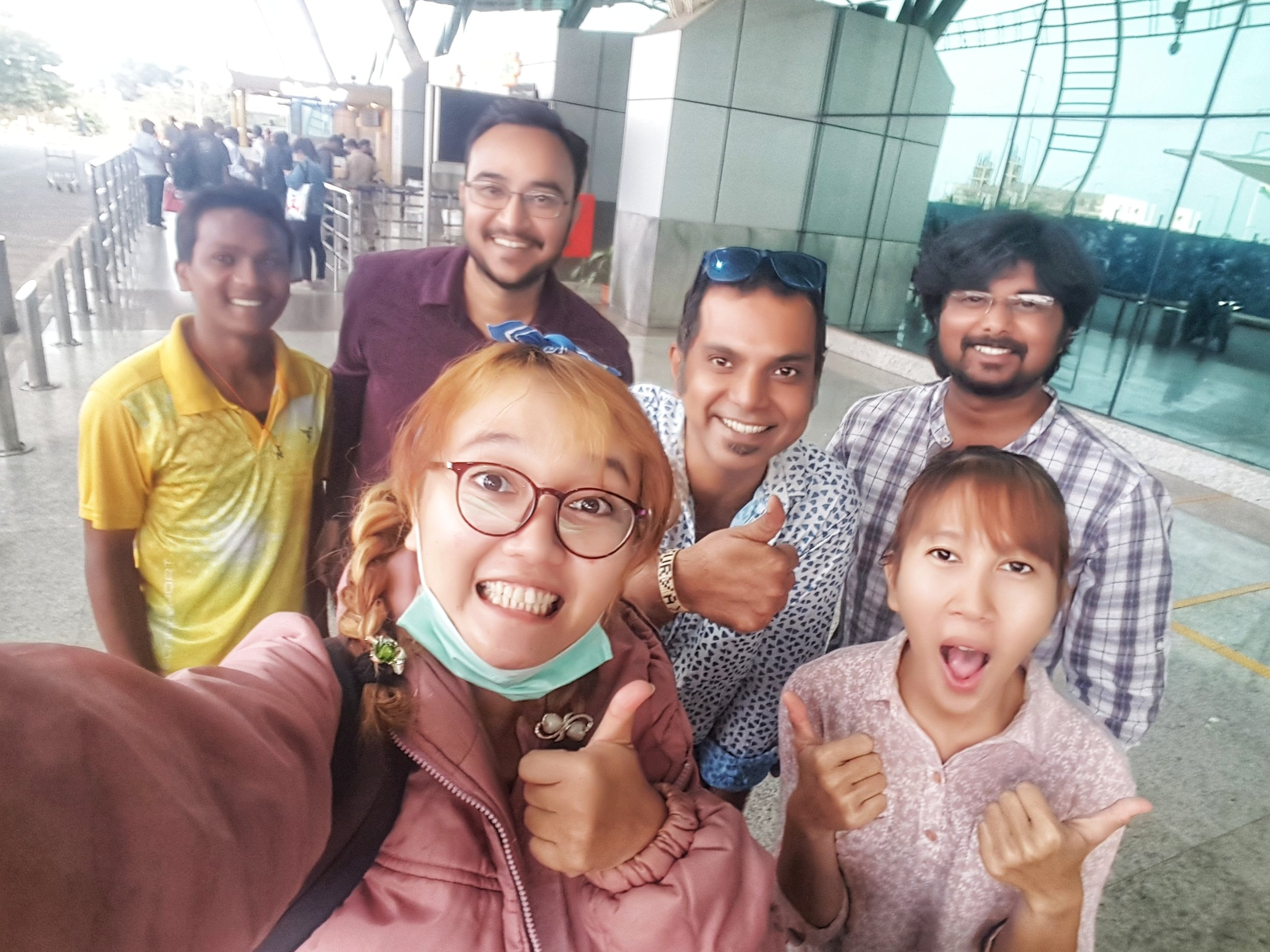 Taking selca with Video Republic team at Bhubaneswar airport before flying back to Indonesia
