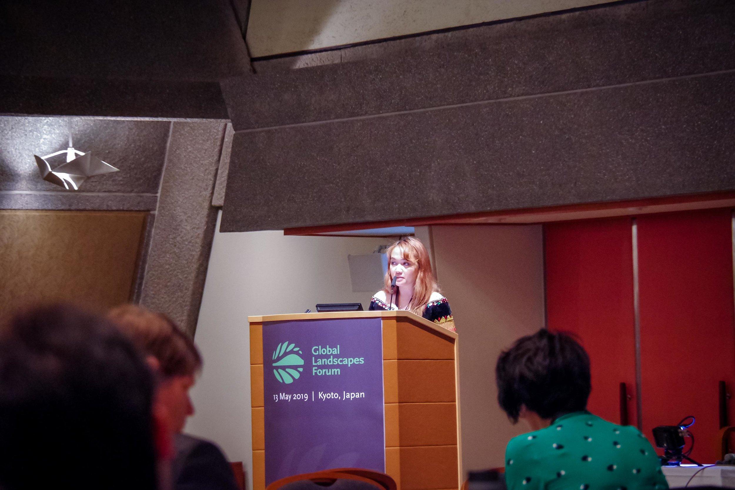 Emmanuela Shinta is giving her speech. Credit photo : GLF Mutimedia