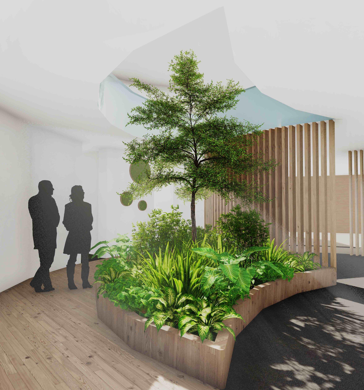 biofilico interior design atrium biophilia garden indoor