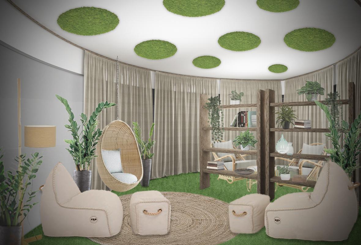 biofilico recharge room green design