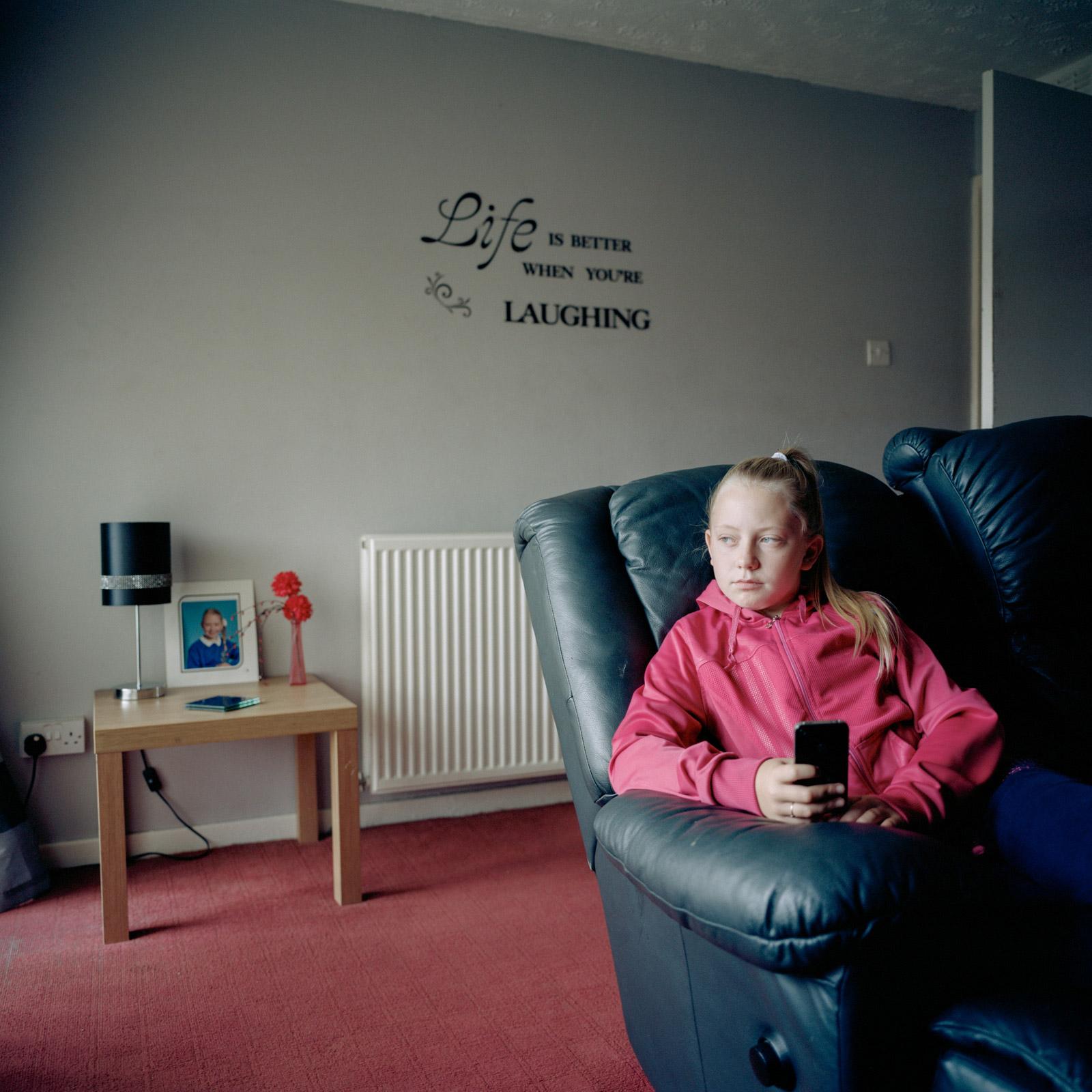 Leah in her living room