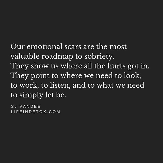 "Our emotional scars are the most valuable roadmap to sobriety.  They show us where the all the hurts got in.  They point to where we need look, to work, to listen, and to what we need to let be.  They give us our personal homework, which is ours and only ours, and unlike anyone else's. And the only way to learn from these lessons is to study them.  To get close.  To lean into them and learn their language, so you can finally read them a bedtime story and at long last put them to sleep. To know their language, so you can negotiate with all the monsters under your bed, and come to see you were a monster under other people's beds, too.  These are the places where we need to start, as it's only through getting to know them and comfort them that we come to finally ""get it"" so we can pass all the pop-up quizzes on our path.  So, look to your scars, if you have your eyes set on being sober.  They're the doors you need to walk through, one at a time, closing each behind you as you go.  It sounds so easy on paper, and yet in practice, even getting started seems impossible – just like what everything else feels like to an alcoholic.  Everything else other than drinking yourself under the table each day, of course.  How do you even start to identify your soft spots, the tender places that flare up and drive you to drink? Where is the 100 Proof version of the manual for How To Finally Start Healing Yourself, that gets to the point faster than yourself to blackout on any day of the week?  Well, there isn't one.  All we have, and all we will ever have, is what I like to call The Pause.  And it's through learning how to pause – to stop pressing all the buttons and fast-forwarding and rewinding our wishes and fears, looping and repeating our diaries of remorse and zooming in on our insecurities – that we can finally step back and see a clear picture of what actually is.  Pause before you spend your money, your time, and your words.  Pause before you pour a drink or your heart out, and learn to pause before you believe what you read, what you're told, and especially what you're thinking.  Learn to pause, always, just long enough to remember that you always have a choice. xo SJ"