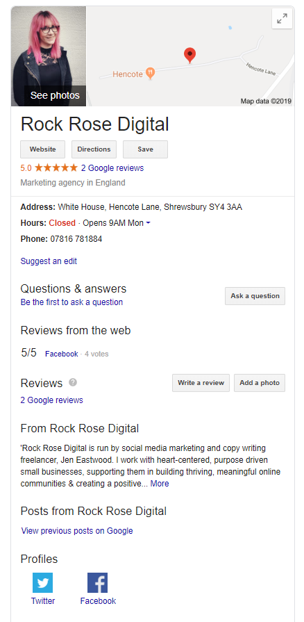 Google My Business profile for Rock Rose Digital in Shrewsbury, social media freelance marketer