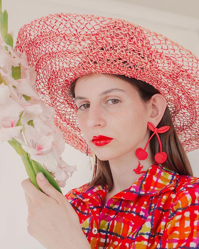 I Keep My Lips Red To Seem Like Cherries In The Spring🍒💄🍒 Red Cherries Earring ✨🍒✨ 📸 @gretafutura 💃🏻 @loruponyo