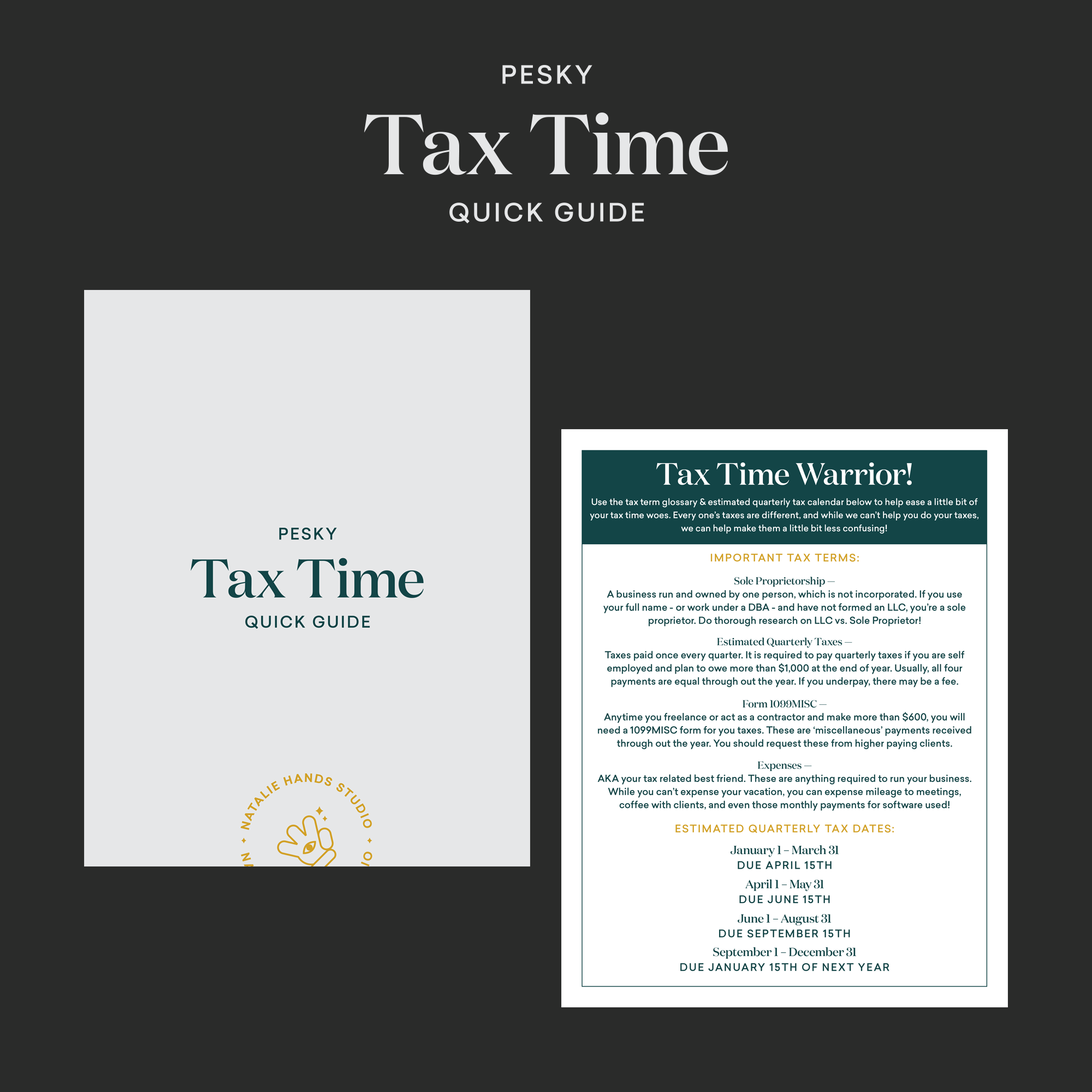 Tax Time Quick Guide by Natalie Hands Studio