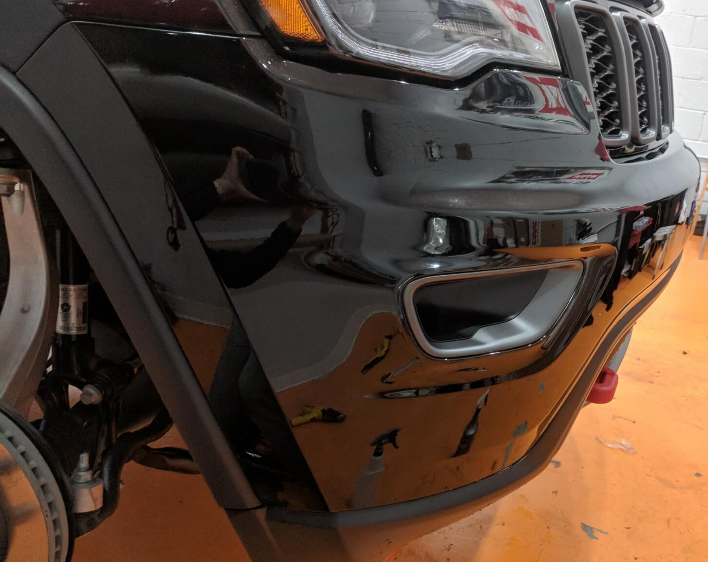Jeep Grand Cherokee received complete front bumper coverage of Xpel Ultimate paint protection film