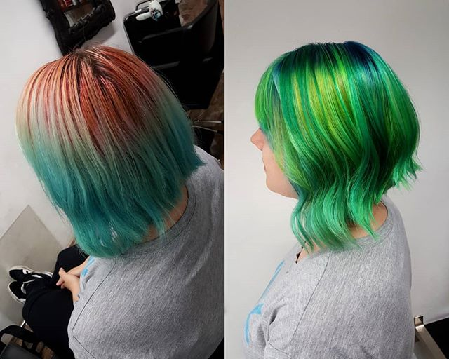 Vorher - Nachher ❤  #haircolor #hairdresser #hairtutorial #hairtrends2019 #hairtutorials #limetwist #greenhaircolor #greenhair #waveshair #hairstyle #hairoftheday #hairartist #hairofinstagram #haircare #crazycolor #crazygirl #stargazer #stargazerproducts #girlhairstyle #girlsday #undercutnbg #nofilterneeded #nofilter #buntehaare