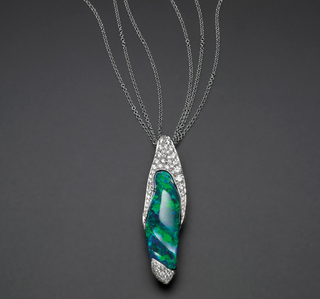 'caelum' pendant with blue green solid opal in 18ct white gold with round brilliant cut diamonds