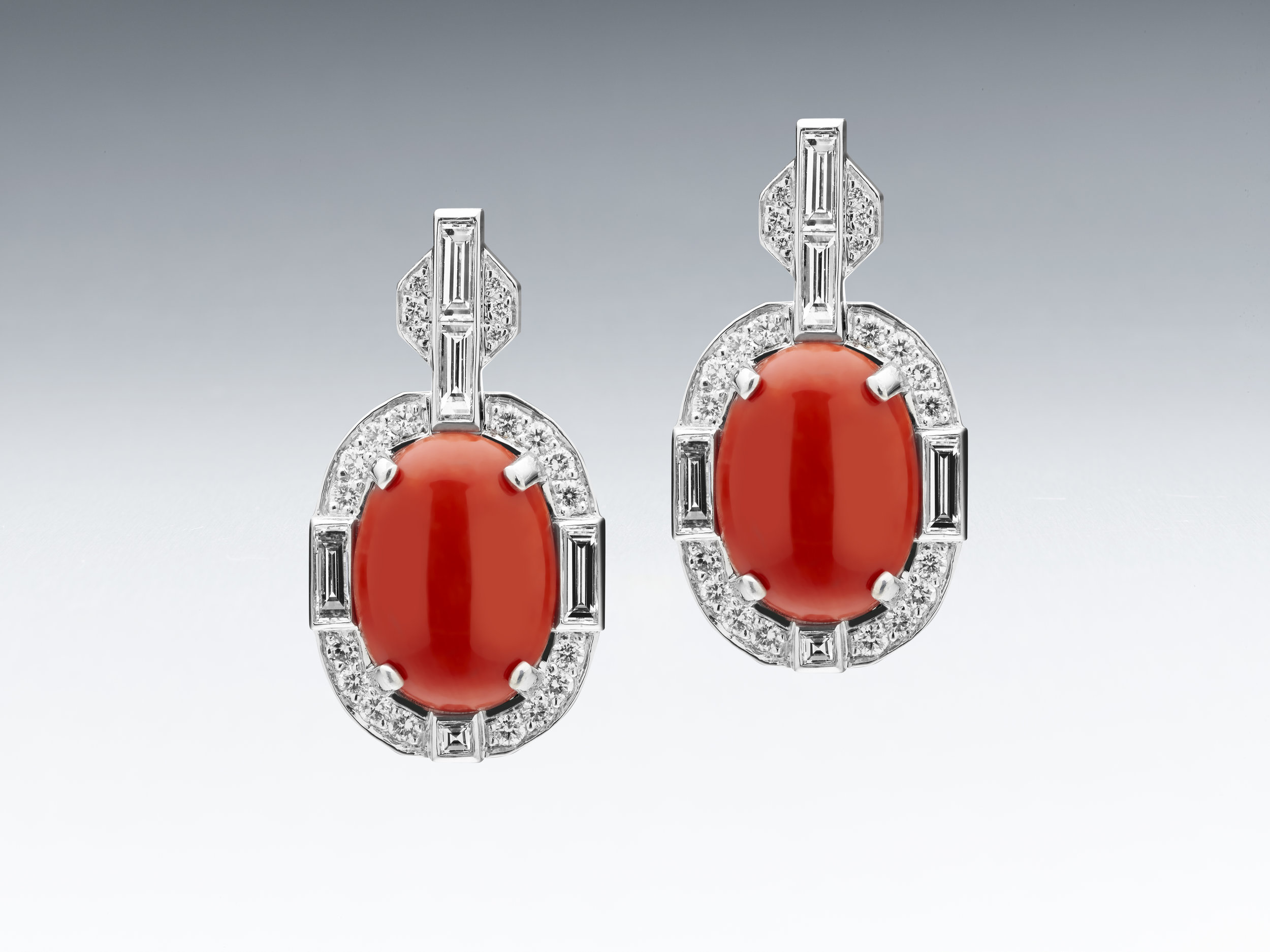 BUNDA 'COUTURE' EARRINGS WITH PRECIOUS CORAL CABOCHONS AND DIAMONDS