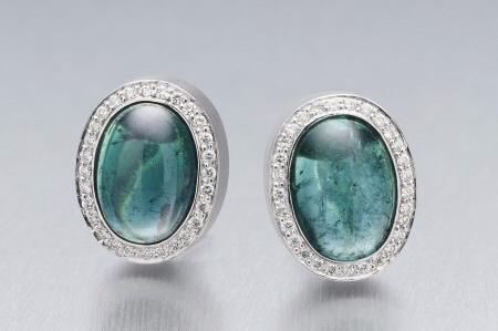 BUNDA Corvus Earrings with Teal Green Tourmaline Cabochons