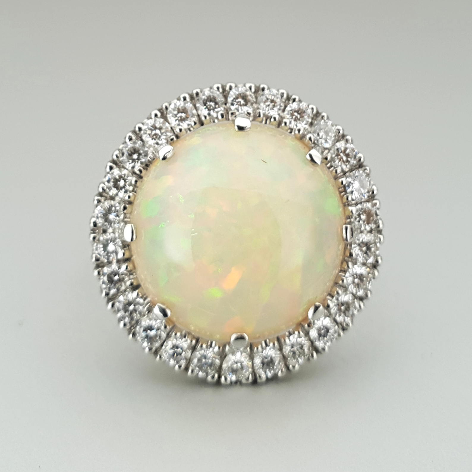 'Valentin' Ethiopian Opal and Diamond Ring in Platinum