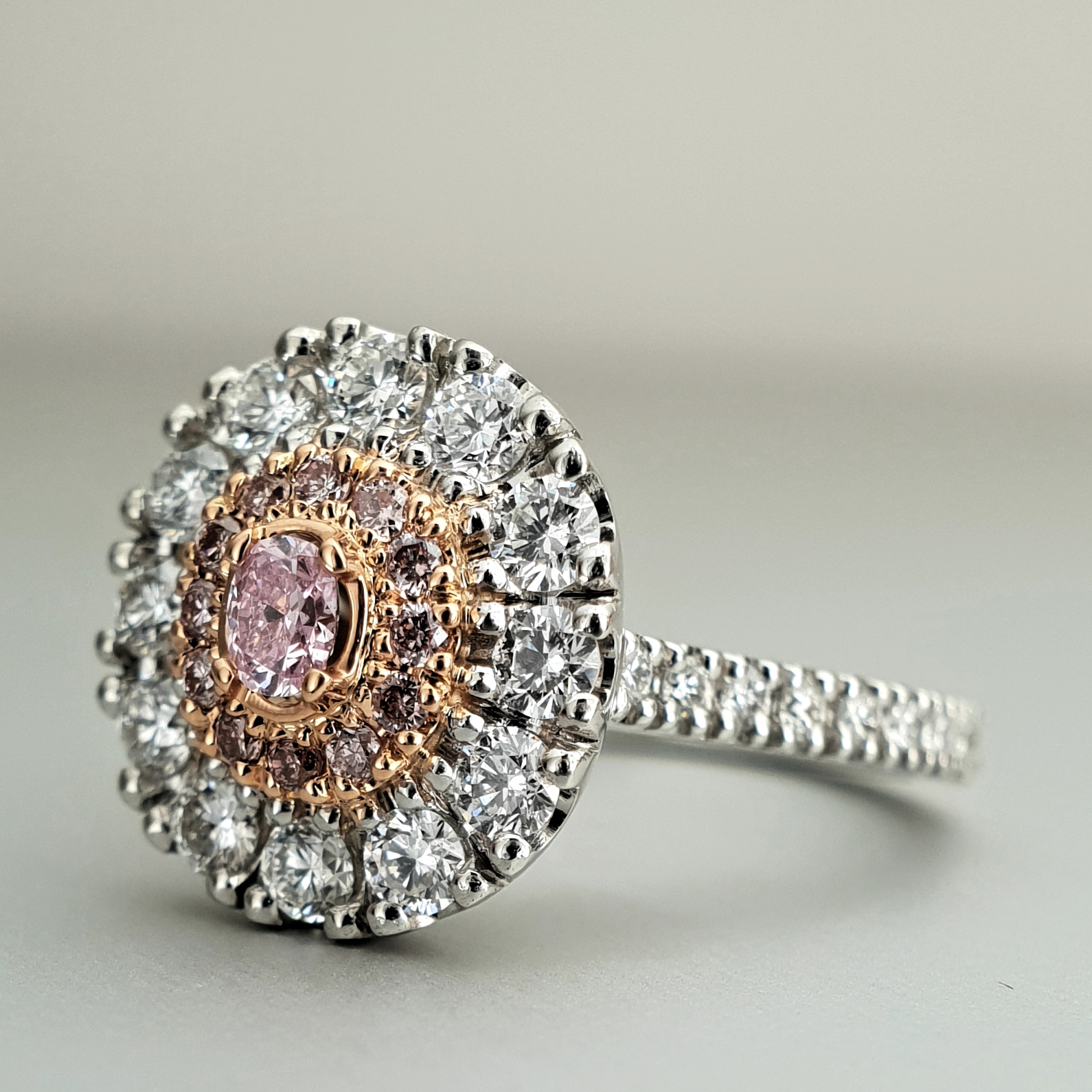 'Valentin' Pink and White Diamond Ring in Platinum and 18ct Rose Gold