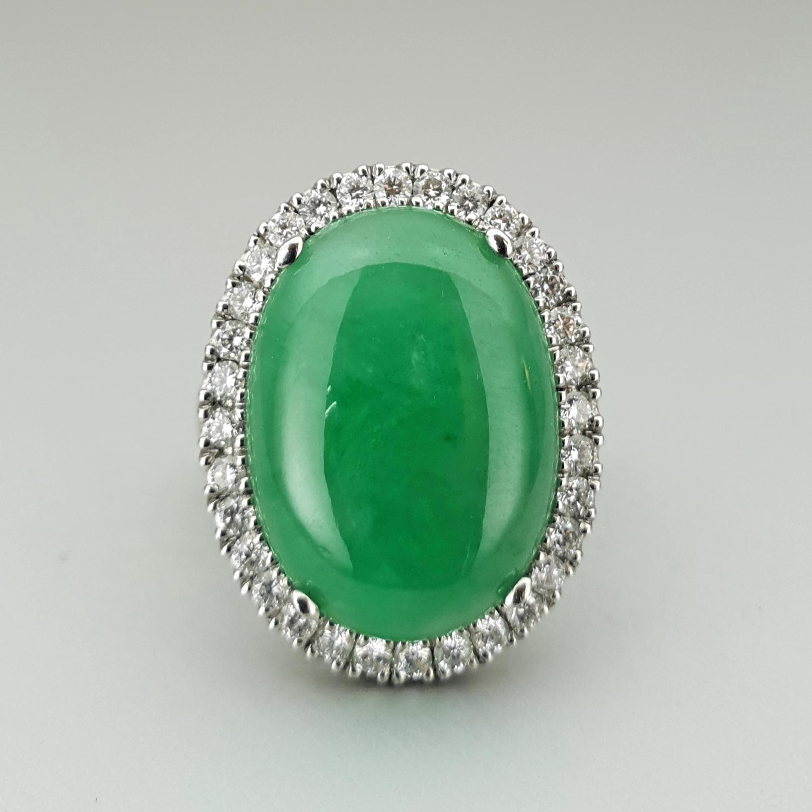 'Valentin' Jade and Diamond Ring in Platinum