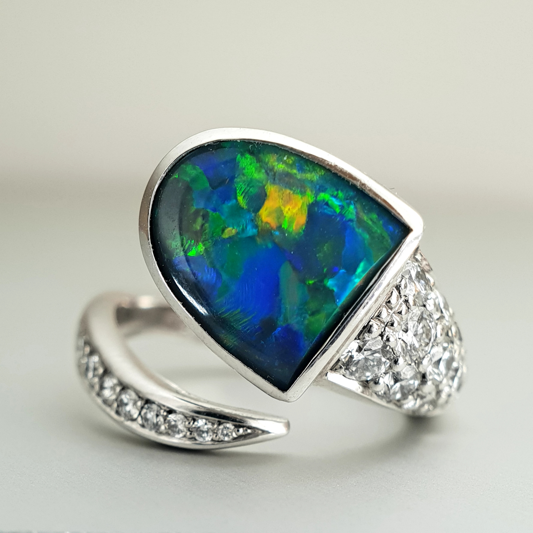 'Couture' Black Opal Ring in 18ct White Gold