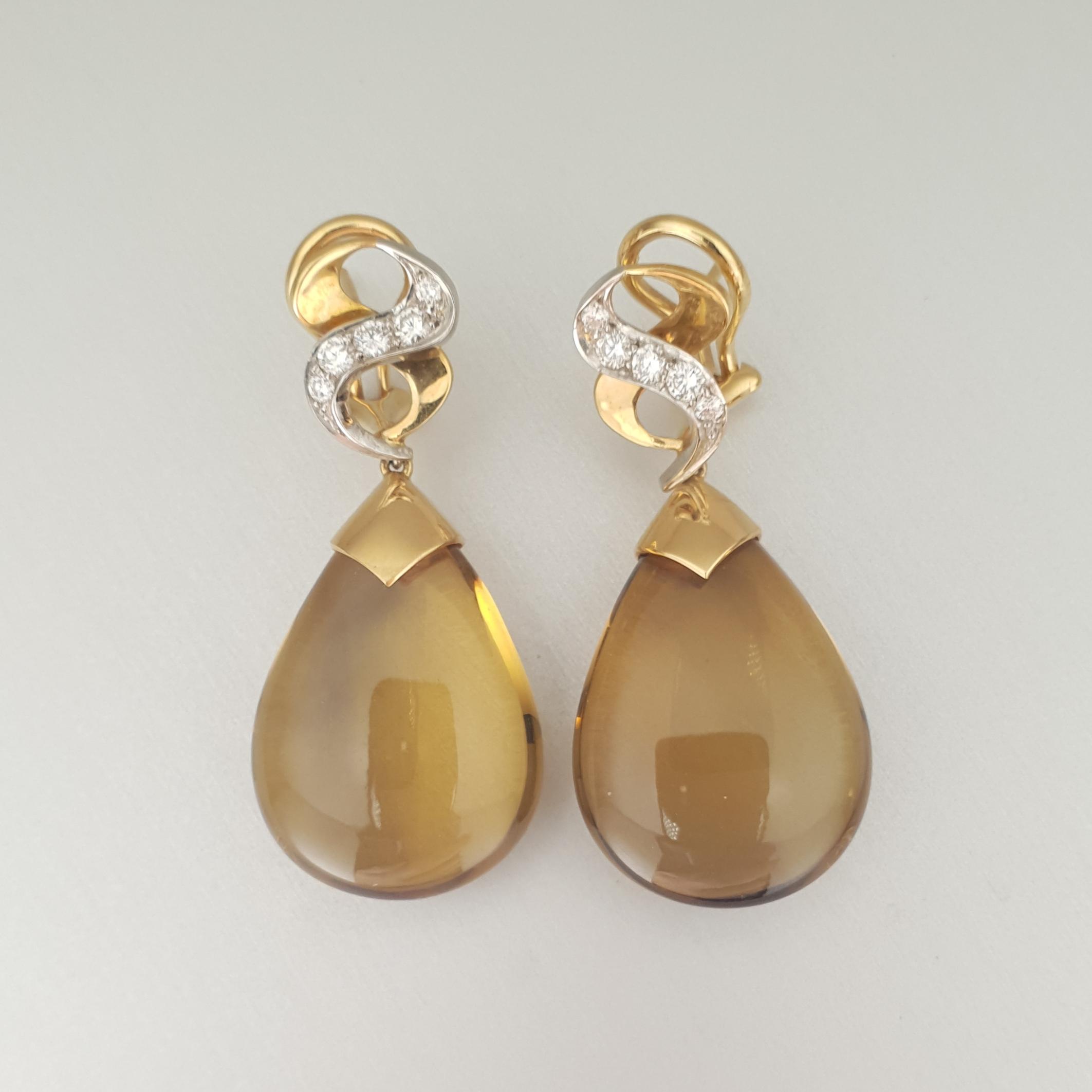 Quartz and Diamond 'Lyra' Earrings