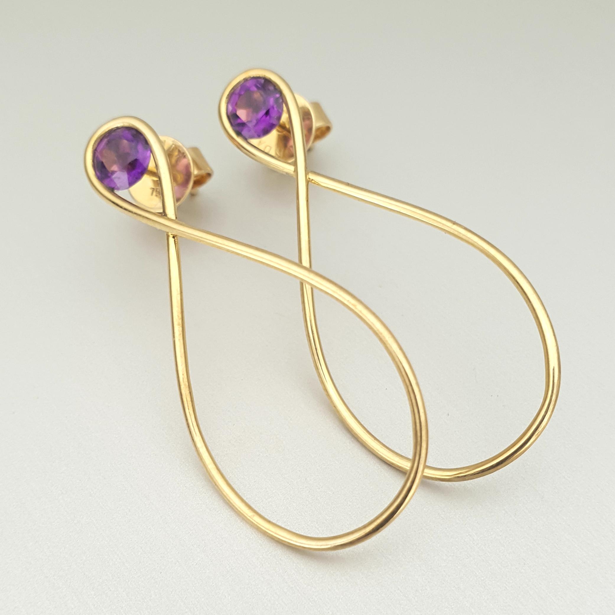 'Adara' Amethyst Earrings in 18ct Gold