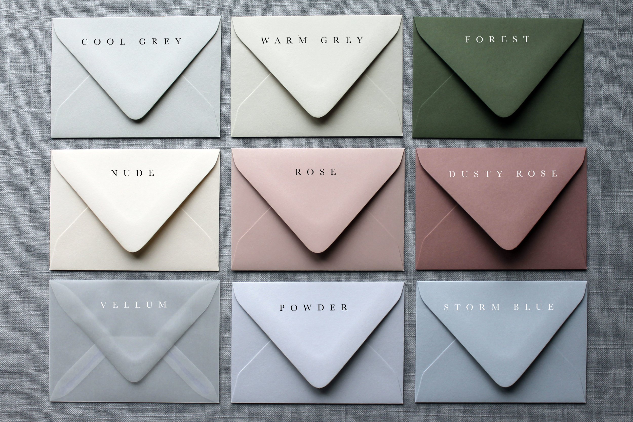 Our Vows Envelope colours semi-custom collection