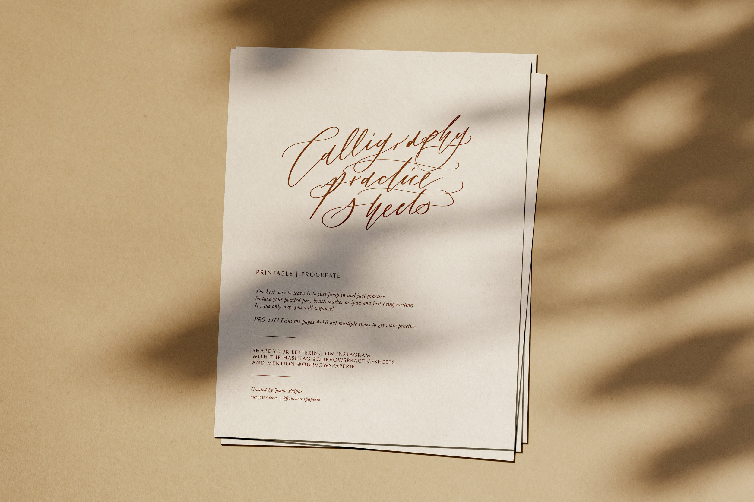 Our Vows Free Calligraphy Practice Sheets
