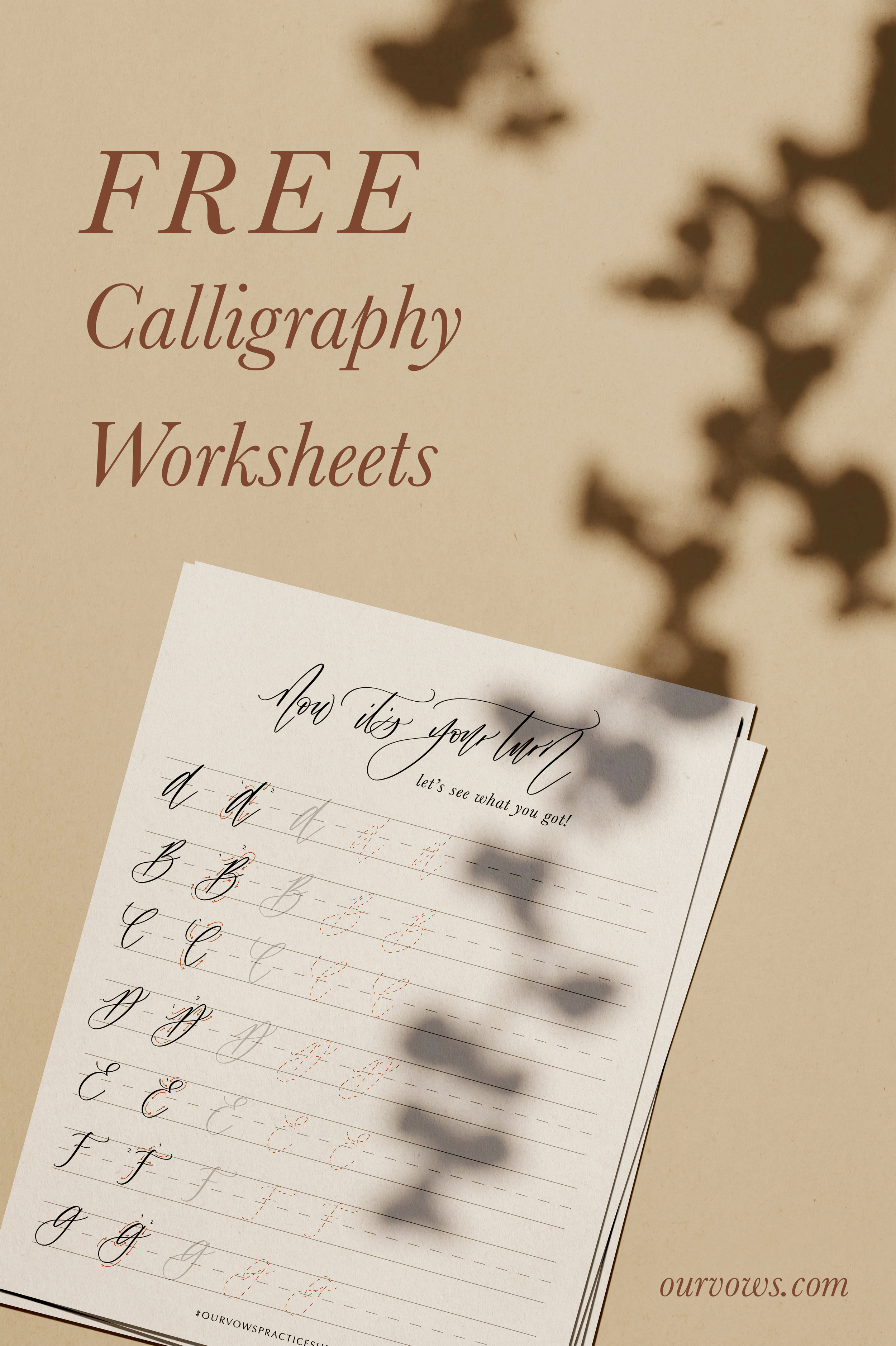 Free Calligraphy Worksheets by Our Vows
