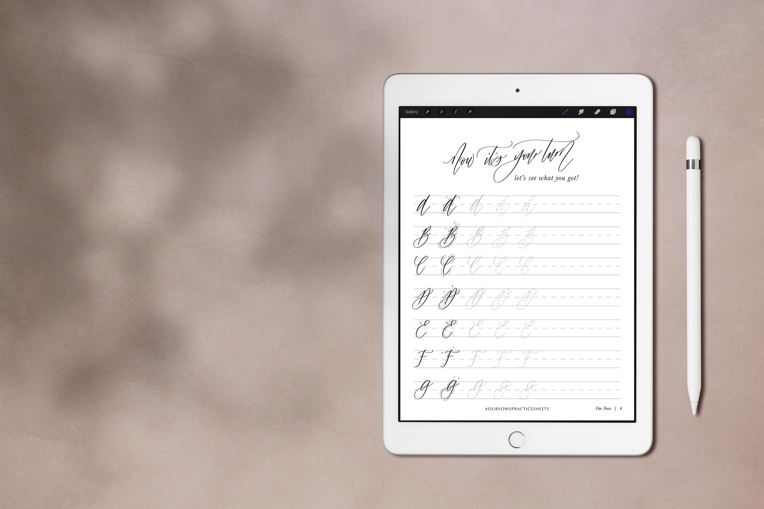 Free modern calligraphy iPad worksheets by Our Vows