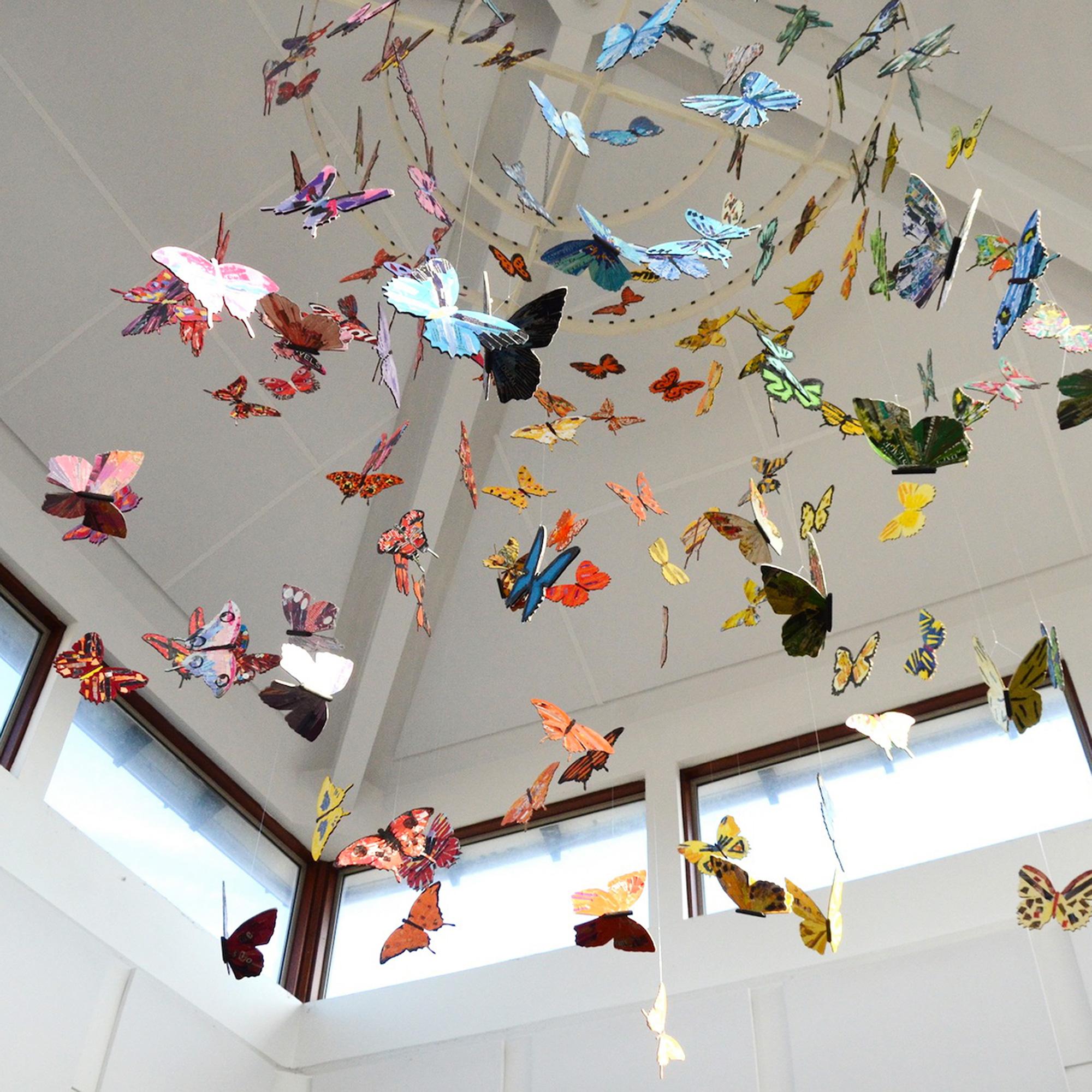 kaleidoscope of hanging butterflies