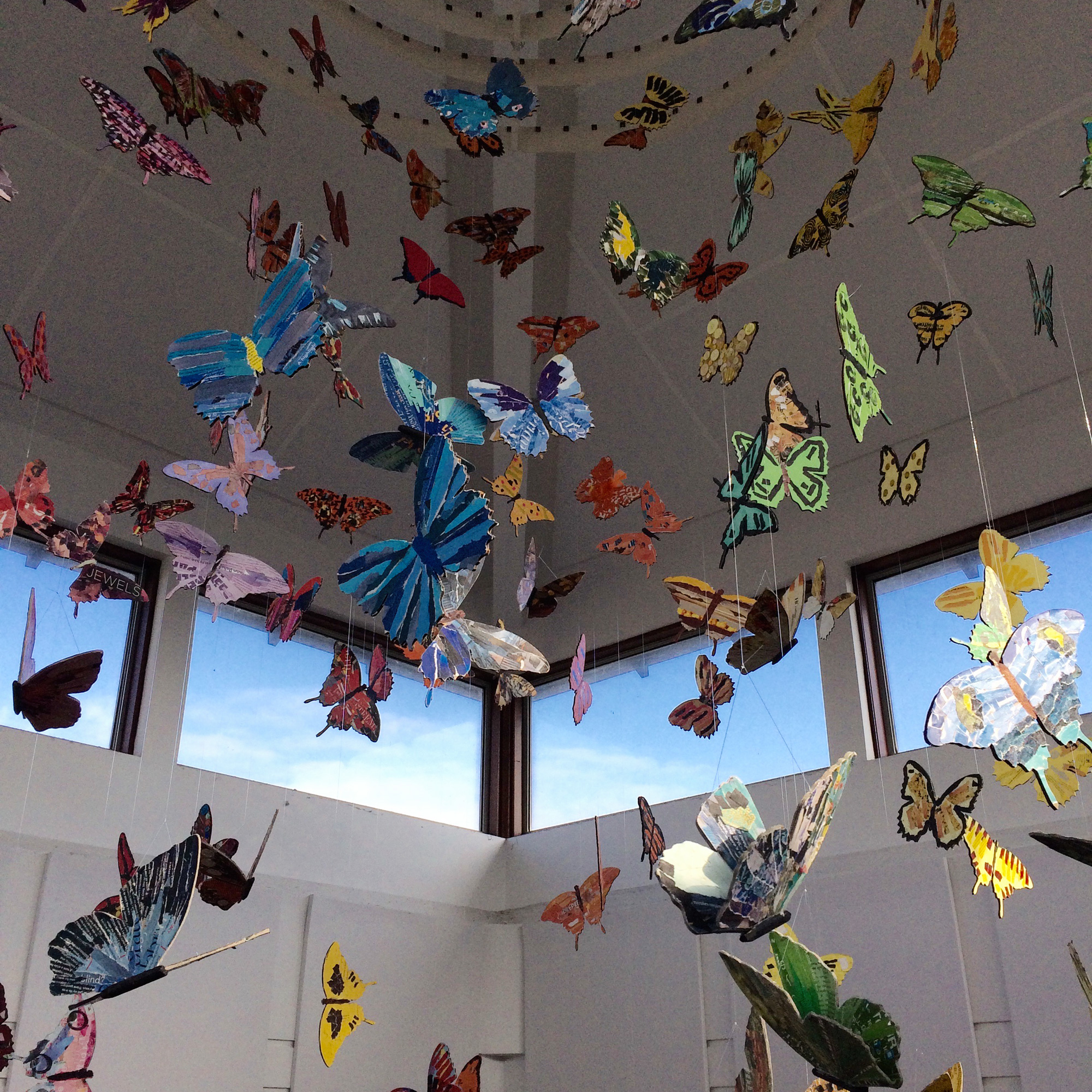 giant butterfly installation hanging from hospital ceiling