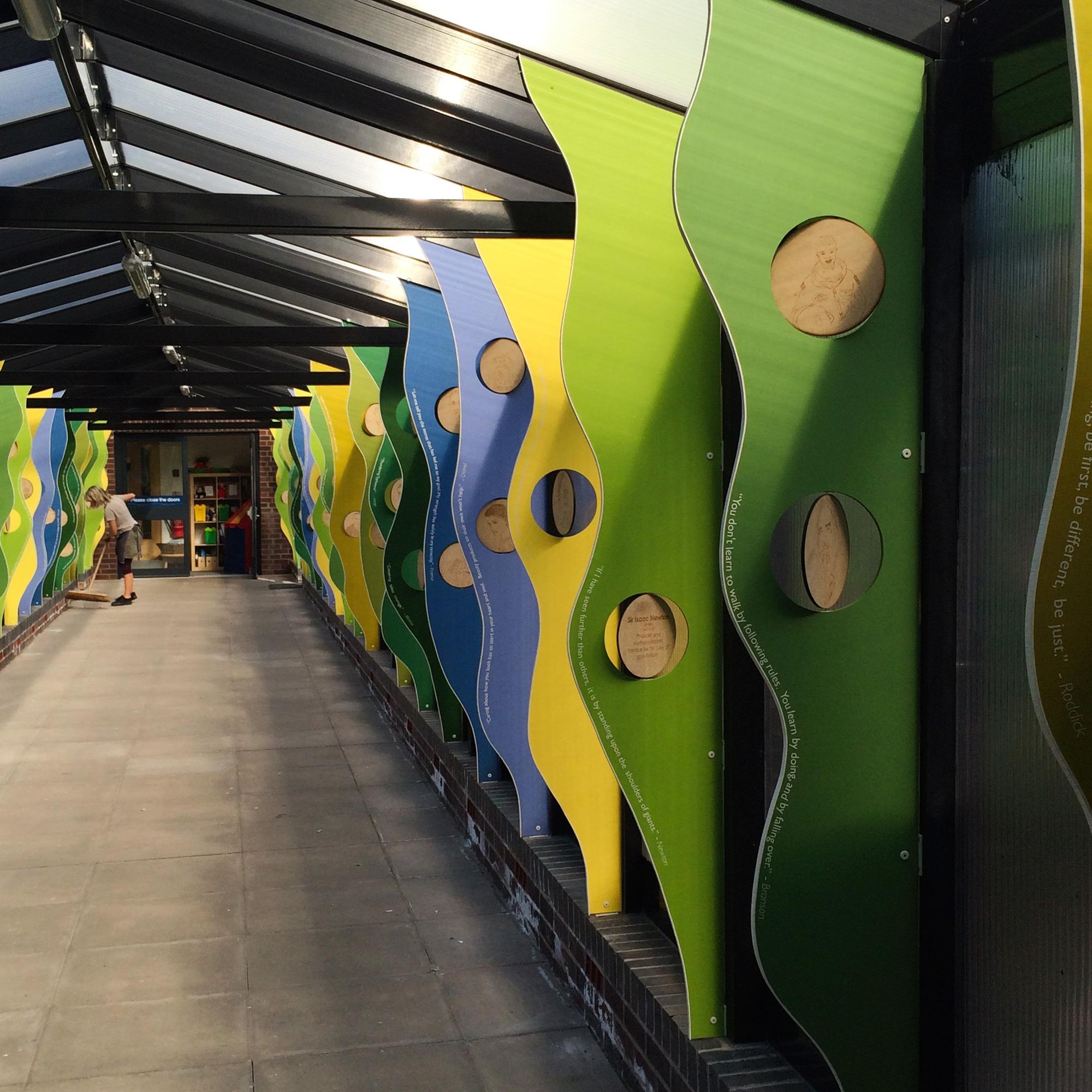 Theatrical art installation decorates school corridor