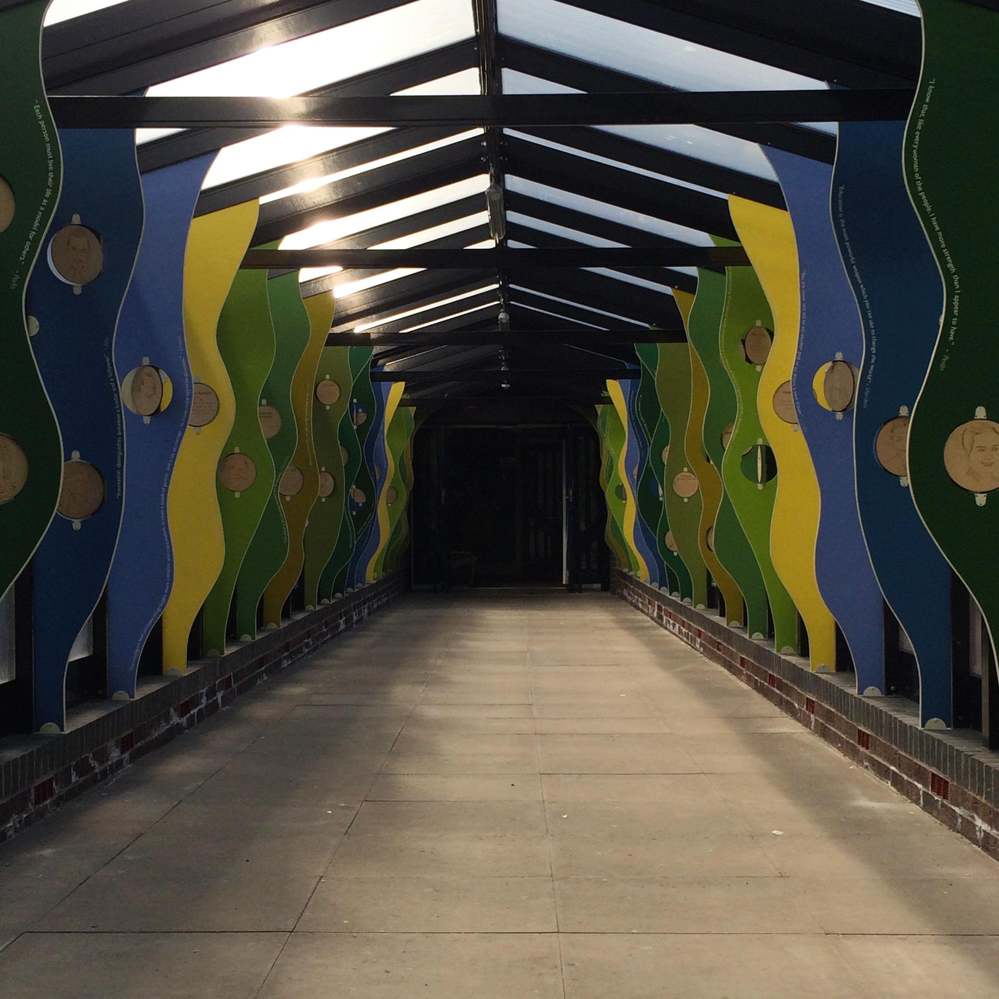 school corridor installation along walkway