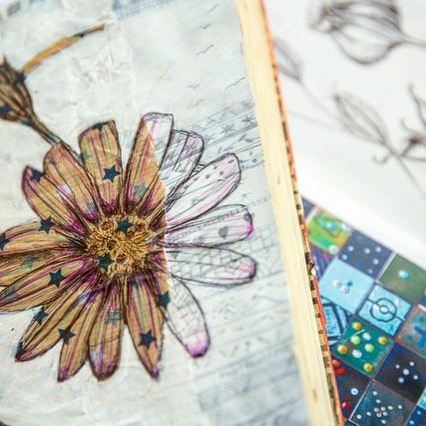 You just can't beat the humble biro to draw with.  #biro #drawing #ink #flower #sketchbook #journalling #creativejournaling #flower #daisy #floral #collage #lineart #detail #books #pattern