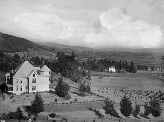 The Harper Estate at the base of Laurel Canyon around 1900. That's Colonel Harper in the foreground, a beneficiary of the Yankee take-over of New Spain.