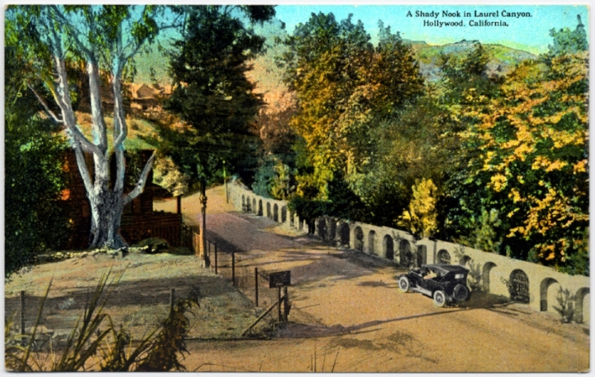 A postcard showing Laurel Canyon Boulevard at Lookout Mountain Road in the 1920's. The property on the right was developed by Harry Houdini, and the one on the left was owned by Tom Mix. His log cabin, which was the site of many rock star gatherings in the 1970's, can be seen just past the tree on the left.