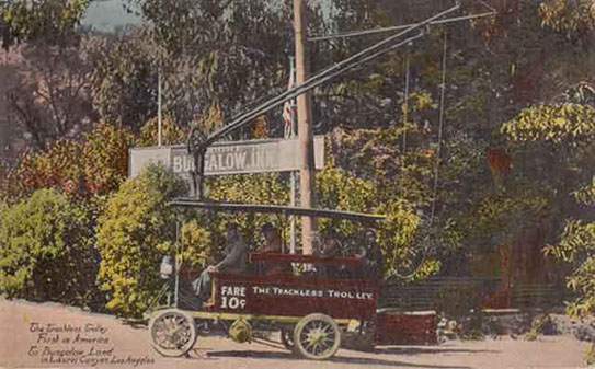 The trackless trolley travelling to Bugalow Land around 1915