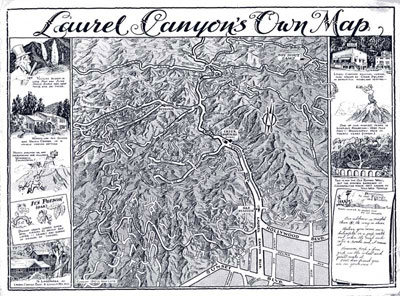 An illustrated map of Laurel Canyon published by the Canyon Crier, the area's first regularly published newspaper. (click to enlarge) The Crier shared space with Mann Realty at Crier Square at Kirkwood and Laurel Canyon Blvd. Mann Realty is not related to Charles Spencer Mann, the developer.