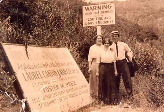 Selling paradise: A sign advertising a subdivision in Laurel Canyon around 1910.