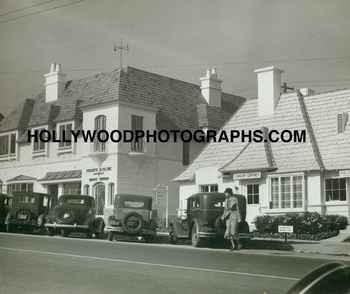 Sunset Boulevard with Regency style shops, circa 1930. Courtesy HollywoodPhotographs.com.