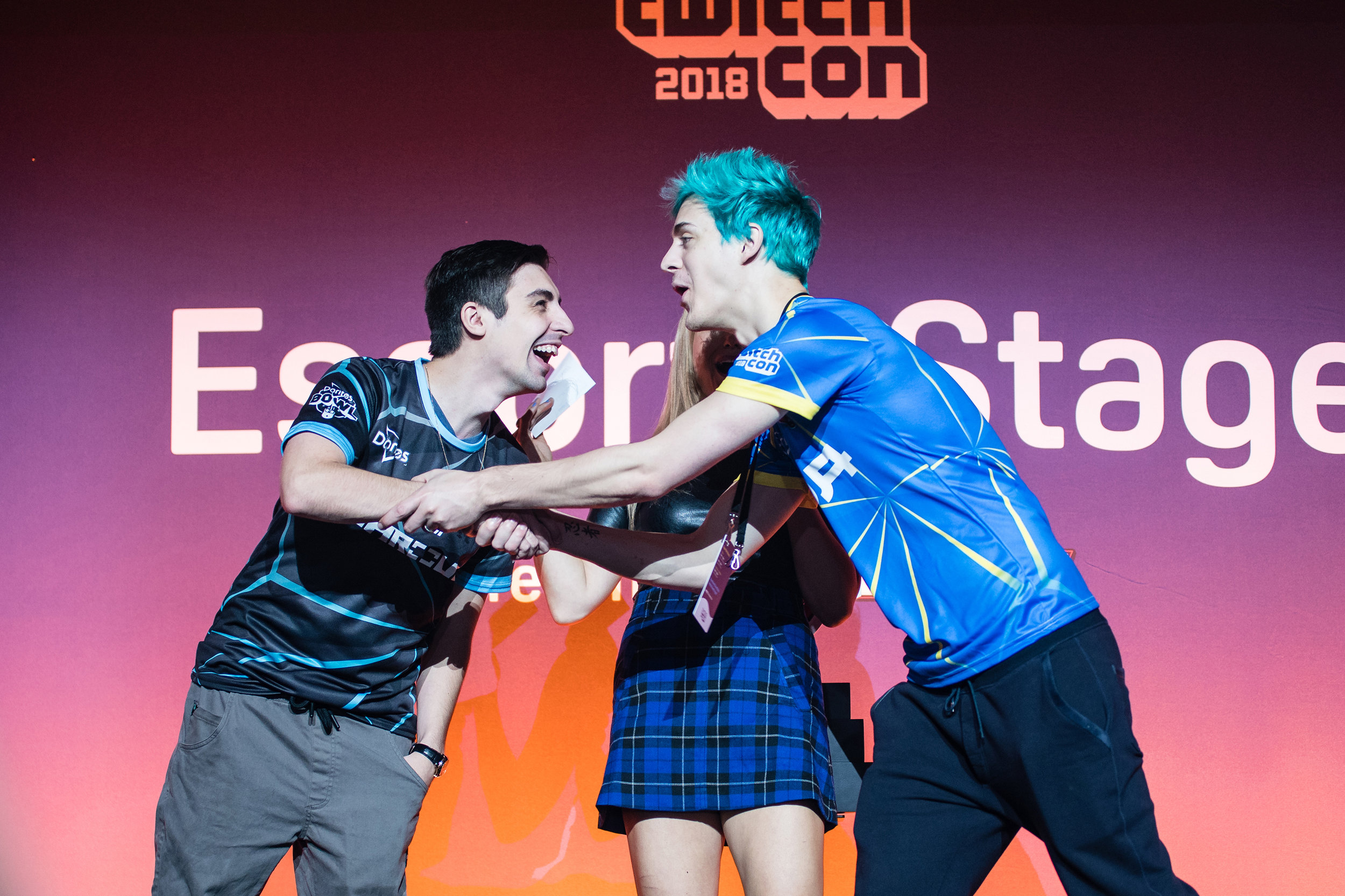 Shroud and Ninja shaking hands after Ninja fakes him out while competing in the first Doritos Bowl 2018 Call of Duty: Blackout Battle Royale tournament at TwitchCon, San Jose Convention Center on October 27, 2018 in San Jose, California.  Photo by Eric_Ananmalay / ESPAT Media